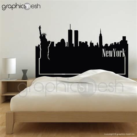 new york skyline bedroom ideas wall decals headboards graphicsmesh
