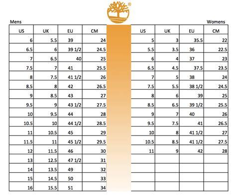 Shoe Size Chart Timberland | timberland shoes size conversion chart soleracks