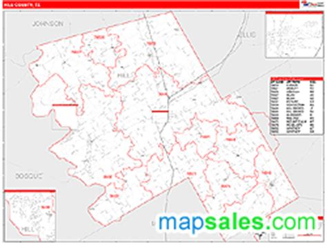 map of hill county texas hill county tx zip code wall map line style by marketmaps