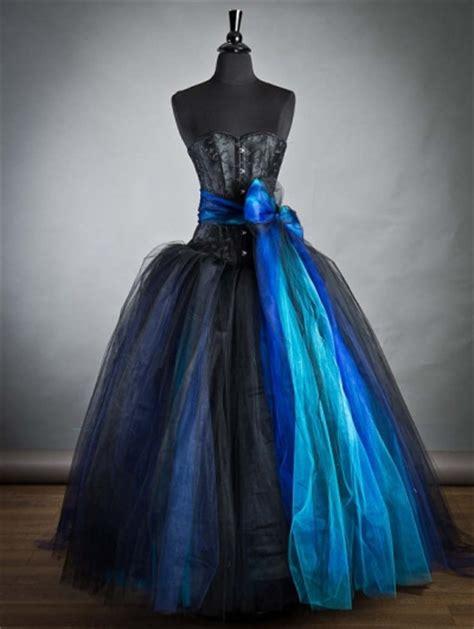 black  blue long gothic burlesque corset prom dress