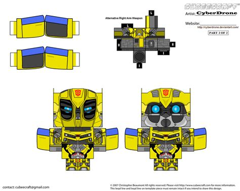 Papercraft Transformers Bumblebee - cubee bumblebee by cyberdrone on deviantart
