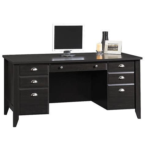 Office Depot Sauder Desk Sauder Shoal Creek Executive Desk 30 1 2 Quot H X 65 1 8 Quot W X 29 1 4 Quot D Jamocha Wood Office