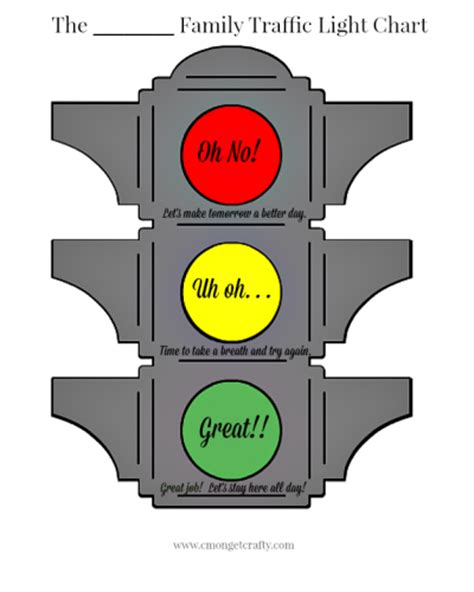 Traffic Light Behavior Chart Free Printable Printable Traffic Light