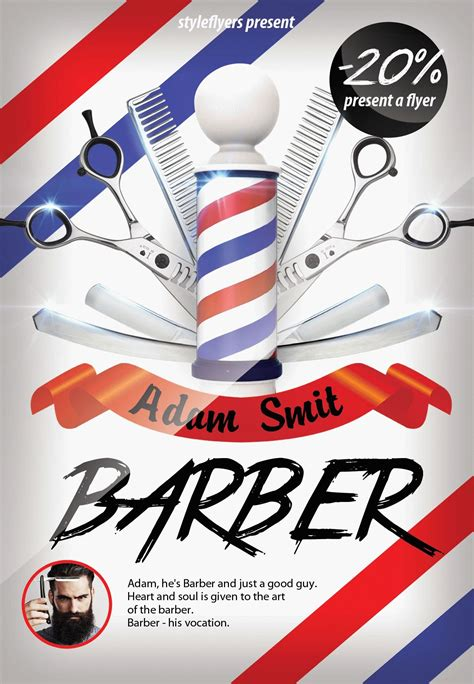barber shop template barber psd flyer template 7303 styleflyers