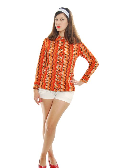 Fashion And Chocolate Womens Two by Orange And Brown Geometric Vintage Blouse For 1950s