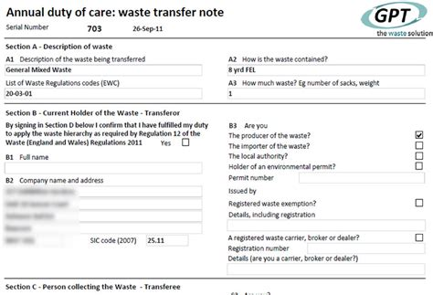 7 best images of transfer of care note waste transfer note