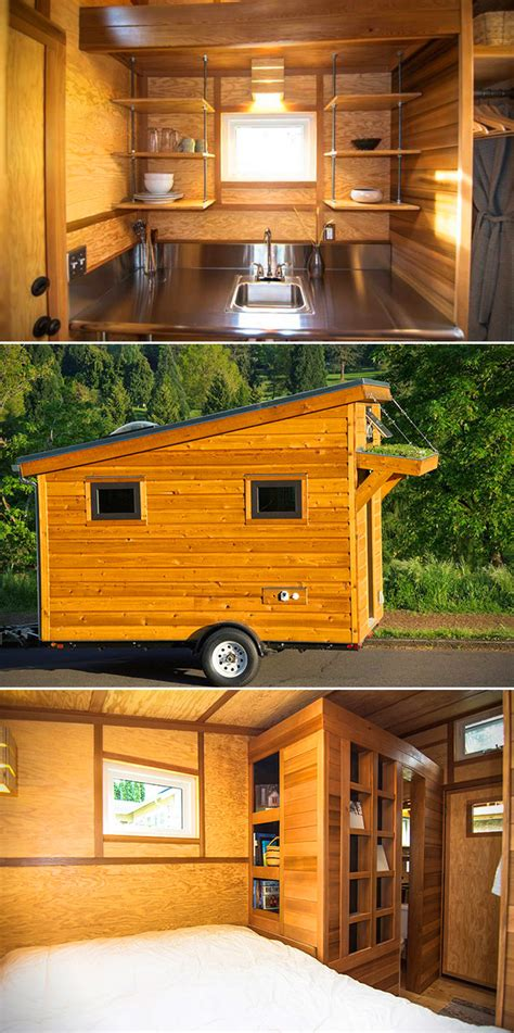 tiny house square feet this tiny wooden 96 square foot box doubles as a home don