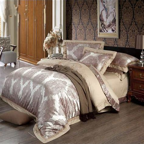 satin bed comforter embroider jacquard silk comforter bedding set queen king