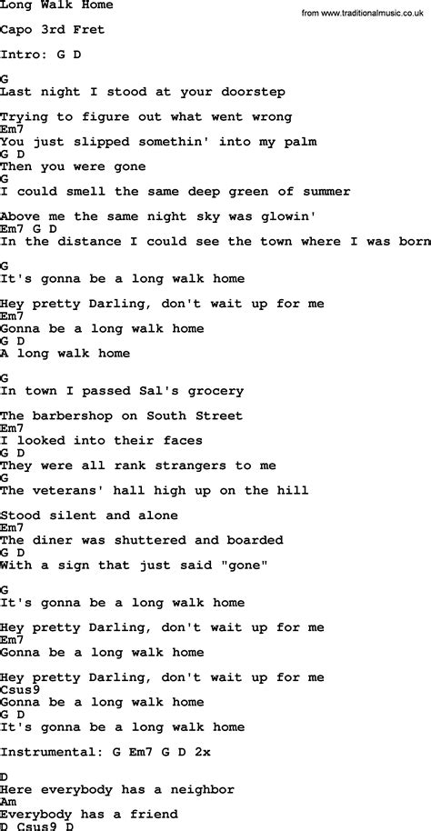 bruce springsteen song walk home lyrics and chords