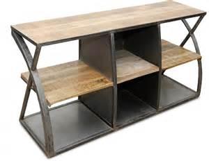 meuble tv acier et bois vintage industriel lestendances fr