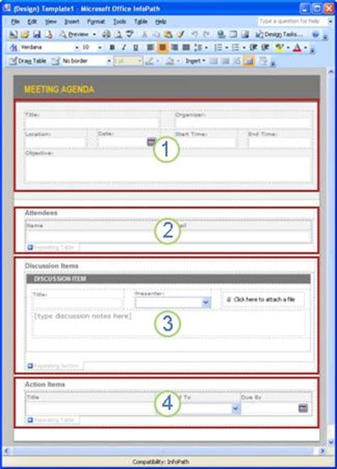 Get Started Create A Meeting Note System With Infopath And Sharepoint Infopath Microsoft Infopath Templates