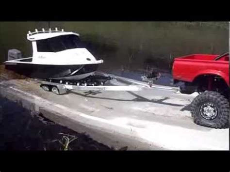 rc boat trailer for catamaran r c aluminium fishing boat with proboat outboard youtube