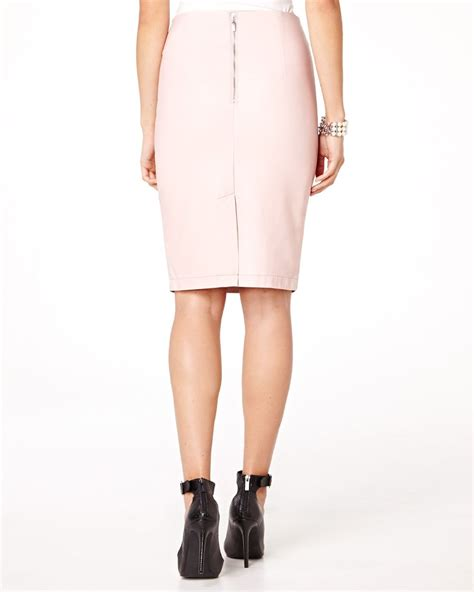 pink leather like pencil skirt rw co