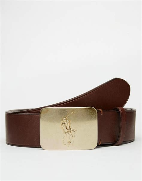 polo ralph polo ralph plaque leather belt