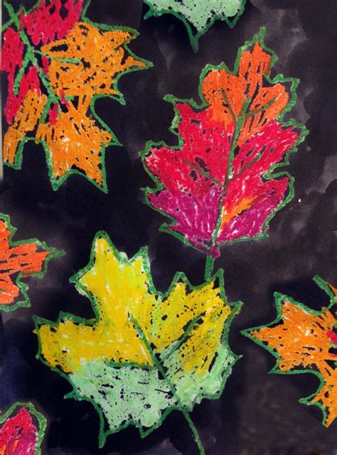 pastel  india ink leaves art projects  kids