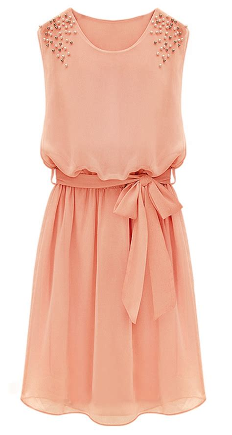 apricot color dress pink sleeveless bead belt chiffon sundress abaday