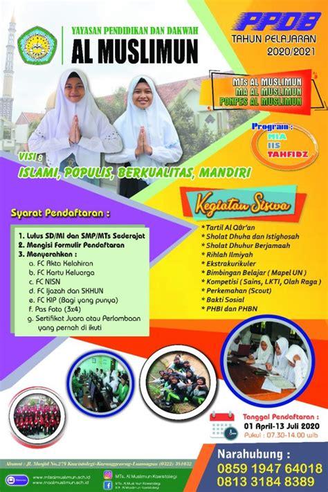 ppdb siswa   brosur madrasah mts al muslimun
