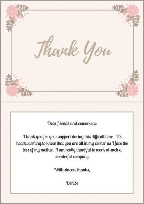 thank you letter friend co worker 46 best funeral thank you cards images on pastor