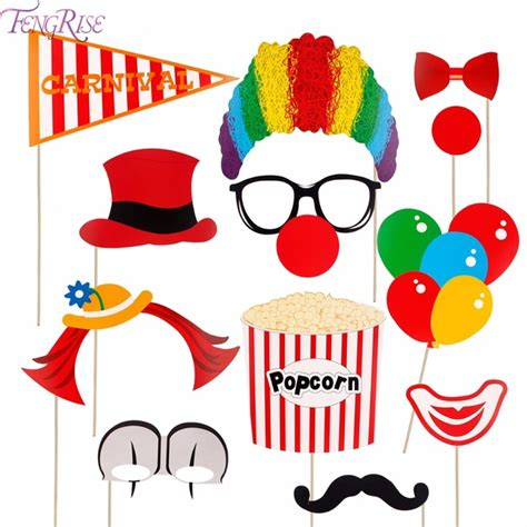 printable carnival photo booth props fengrise 12pcs clown photobooth props funny circus clown