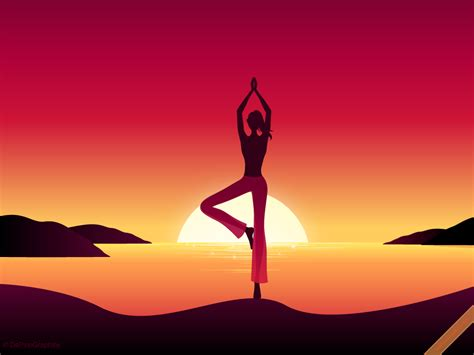 cartoon yoga wallpaper dapinographics 187 yoga girl by sunset wallpaper