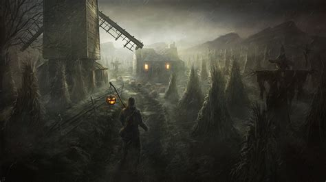 dark village wallpaper gothic rain halloween mill night fantasy wallpaper