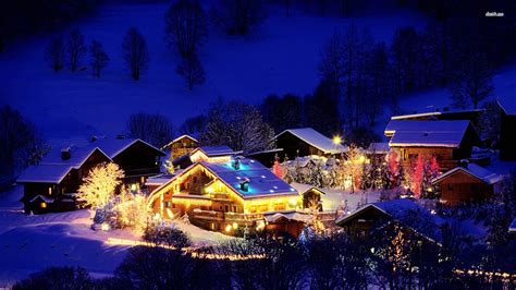 merry christmas village lights at night hd wallpaper
