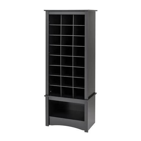 prepac shoe storage shop prepac furniture 24 pair black wood shoe cubbie