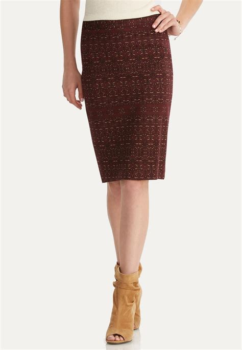 abstract print pencil skirt below the knee cato fashions