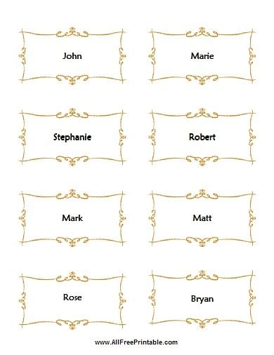 name place cards template free flat place card template for wedding free printable