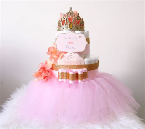 gold pink cake with crown tiara for baby