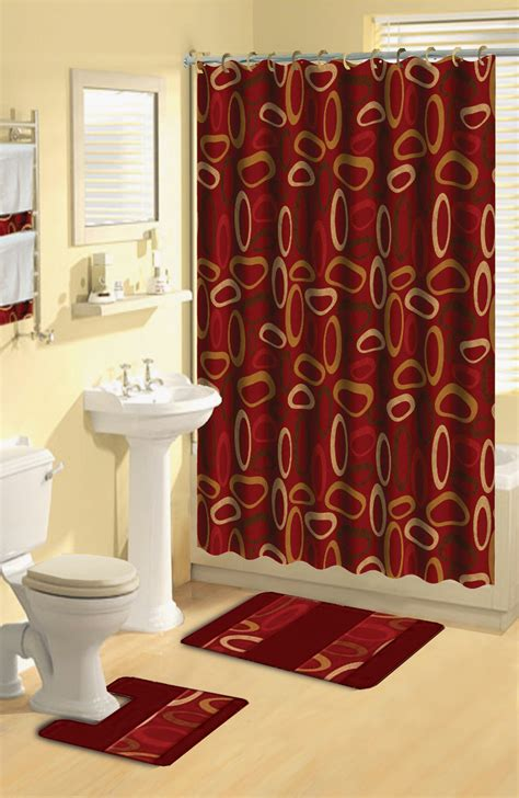 Bathroom Shower Curtain And Rug Sets Modern Geometric Burgundy Rings 17 Bath Rug Shower Curtain Hooks Towel Set Ebay
