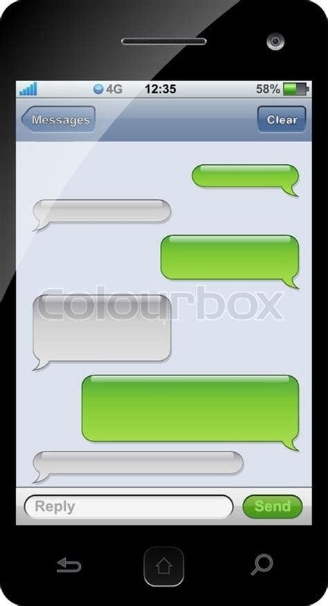 text message templates smartphone sms chat template with copy space stock