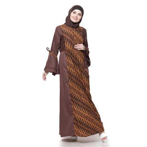 gamis batik kombinasi polos nusagates