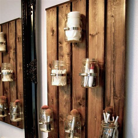 pallet wall decor  wood beams  hurricane jars