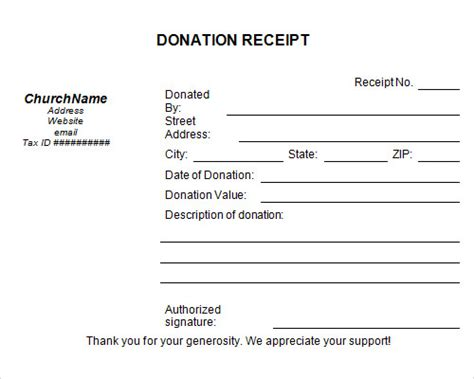 gift receipt template donation receipt template free microsoft