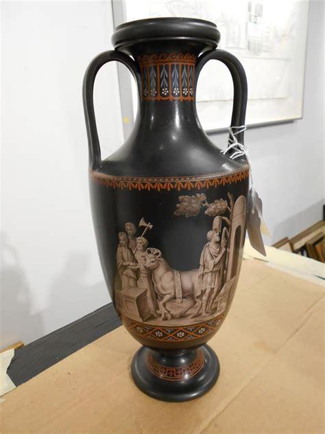 Wedgwood Black Basalt Vase by Wedgwood Encaustic Decorated Black Basalt Vase Sale