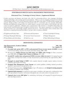 professional resume sles workalpha sales management professional resume