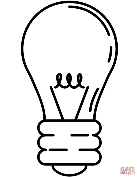 Light Bulb Coloring Page Clipart Best Tree Light Bulb Coloring Pages