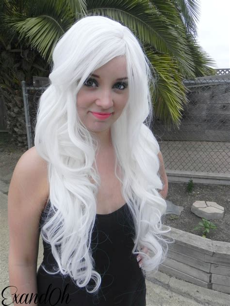 white haired white curly layered wig mermaid hair with by exandoh