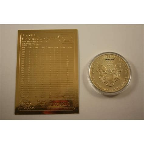 1 Oz Silver One Dollar 2001 - dale earnhardt card 24kt gold plated 2001 american