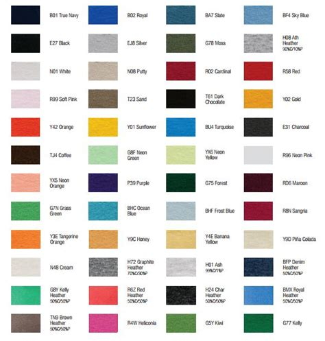 Comfort Colors T Shirts Color Chart by 7 Best Images Of Comfort Colors T Shirts Color Chart
