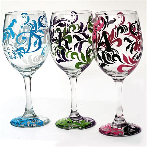 monogram barware personalized wine glasses corkystorks