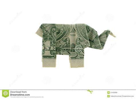 Elephant Origami Dollar - dollar elephant royalty free stock photos image 21453838