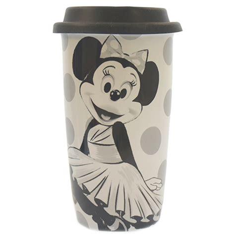Disney Ceramic Mickey Mouse Travel Mug - disney parks minnie mouse dots black white ceramic