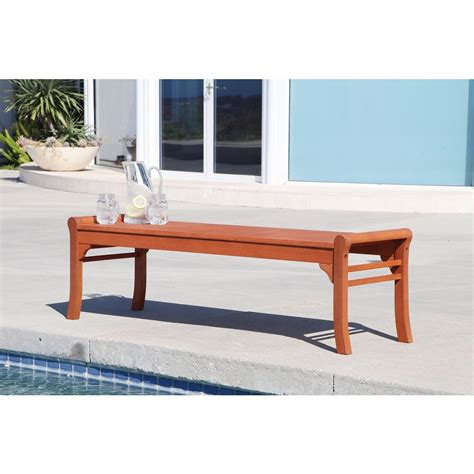 backless patio bench eucalyptus backless patio bench v437 the home depot