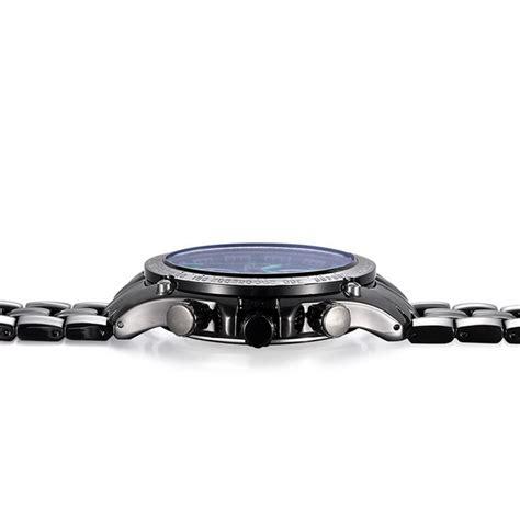 Calendario Negro Reloj Con Calendario Negro Azul Cuarzo De La Venda