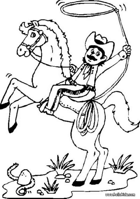 cowboy horse coloring page cowboy on bucking horse coloring pages hellokids com