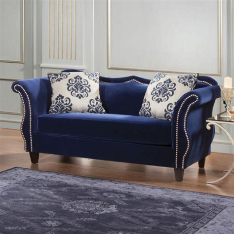 royal blue furniture furniture of america zaffiro love seat royal blue sm2231 lv
