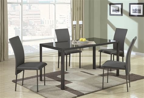 shelby black metal and glass dining table set a
