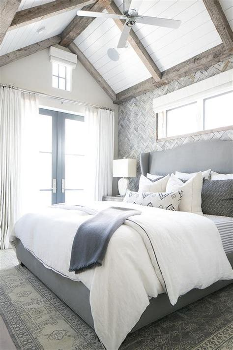 master bedroom design boards grey white dark grey and gray herringbone tile accent wall transitional bedroom